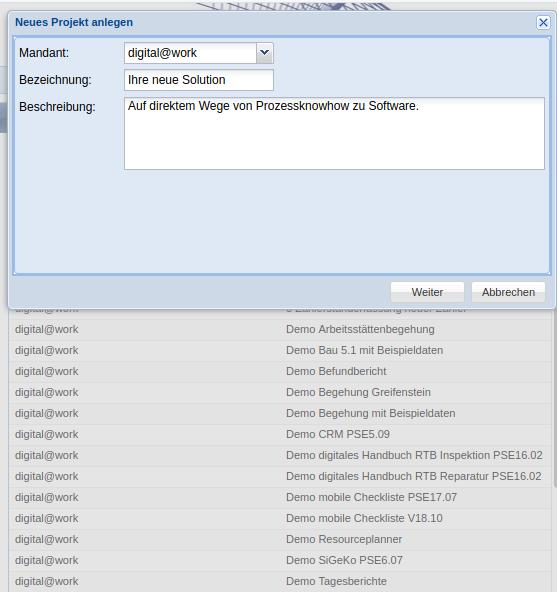 Projektinitialisierung: Auf direktem Wege von Prozessknowhow zu Software.